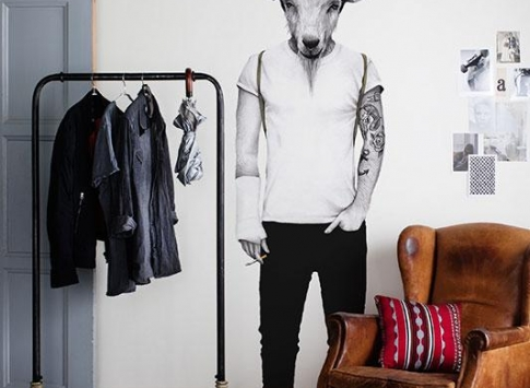 Mr. Perswall behang - Street Art - Hipster Goat
